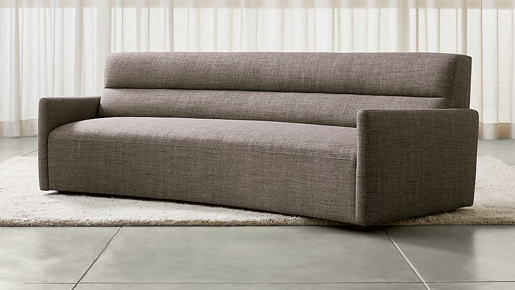 Sydney curved sofa reviews crate and barrel for Curved sectional sofa dimensions