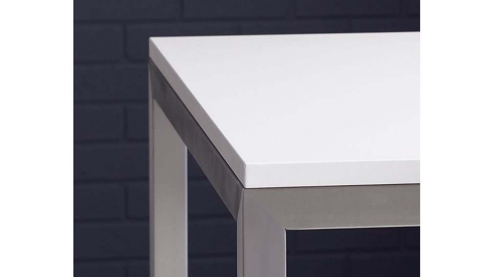 Parsons White Top/ Stainless Steel Base 48x28 High Dining Table