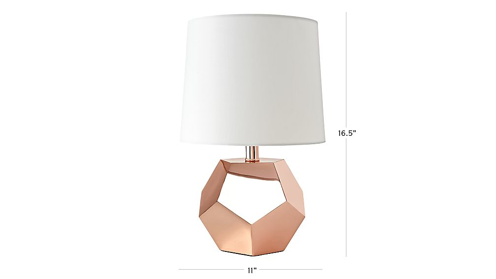 TAP TO ZOOM Image With Dimension For Geometric Rose Gold Lamp
