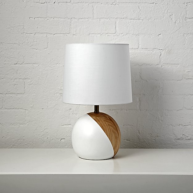 f84d48325603 White and Wood Table Lamp + Reviews | Crate and Barrel