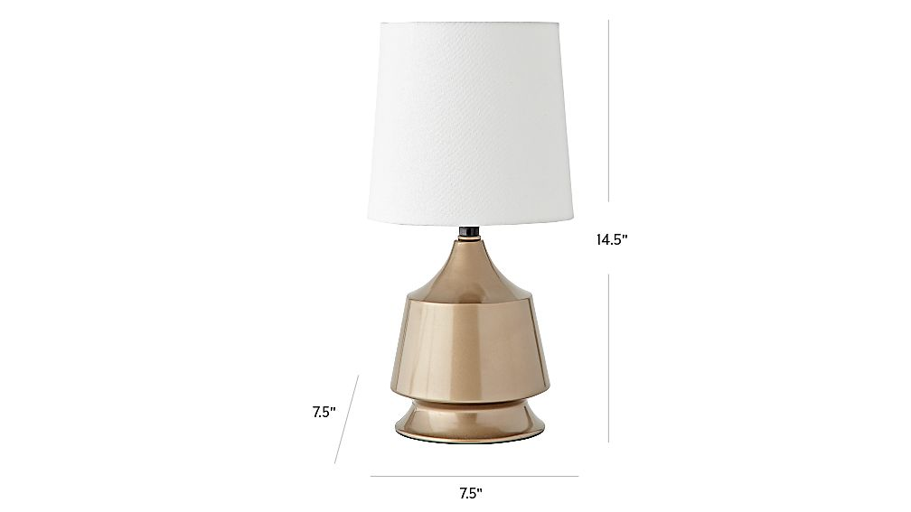 TAP TO ZOOM Image With Dimension For Gold Tabletop Touch Lamp