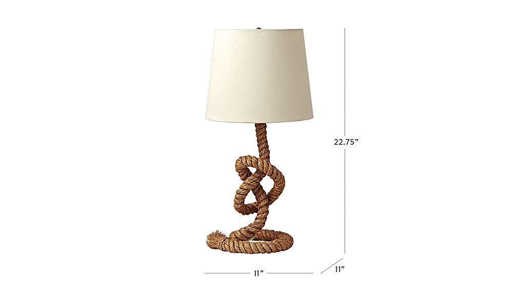 TAP TO ZOOM Image With Dimension For Rope Table Lamp