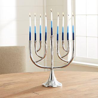 Tall Shiny Silver Hanukkah Menorah