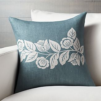 "Talulah Blue 18"" Pillow with Feather-Down Insert"