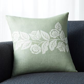 "Talulah Sage Green 18"" Pillow with Feather-Down Insert"