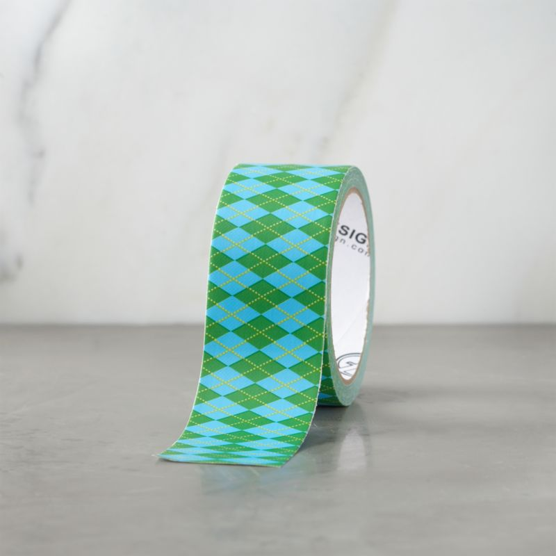 With graphic variation on the classic, the tape becomes part of the packaging or brightens craft projects and repairs. Broad duct tape in blue and green argyle is crafted to tear by hand, and appears seamless both horizontally and vertically.<br /><br /><NEWTAG/><ul><li>Hot-melt adhesive, plastic film and cotton backing</li><li>Made in China</li></ul>