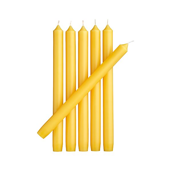 Set of 6 Yellow Taper Candles