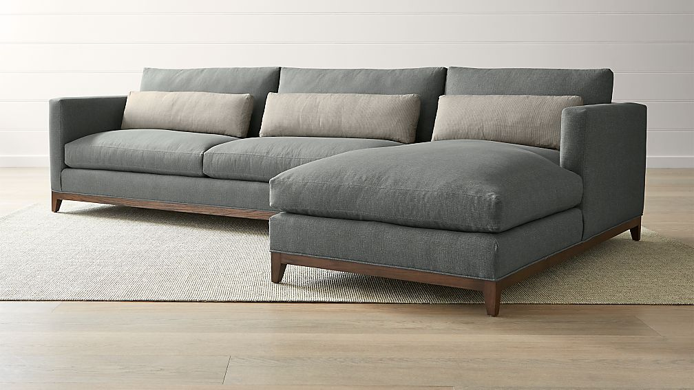 Taraval 2 Piece Right Arm Chaise Sectional With Oak Base Reviews Crate And Barrel