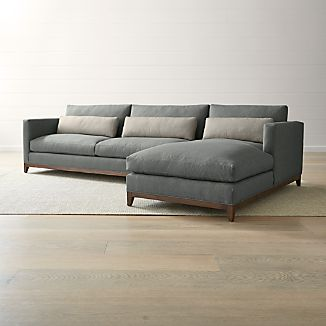 taraval 2 piece right arm chaise sectional with oak base - Sectional With Chaise