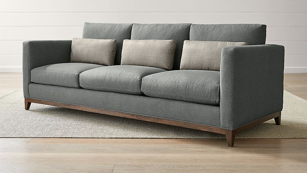 taraval 3 seat oak wood base sofa reviews crate and barrel. Black Bedroom Furniture Sets. Home Design Ideas