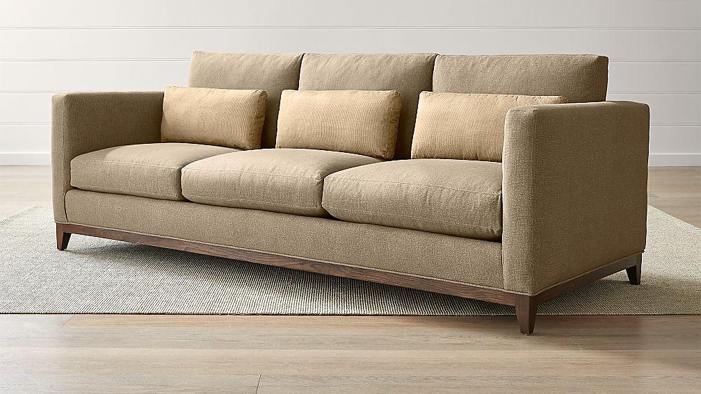 taraval 3 seat taupe oak wood base sofa reviews crate and barrel. Black Bedroom Furniture Sets. Home Design Ideas