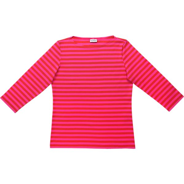 Marimekko Tasaraita Ilma Red and Pink 3/4-Sleeve X-Small Tee
