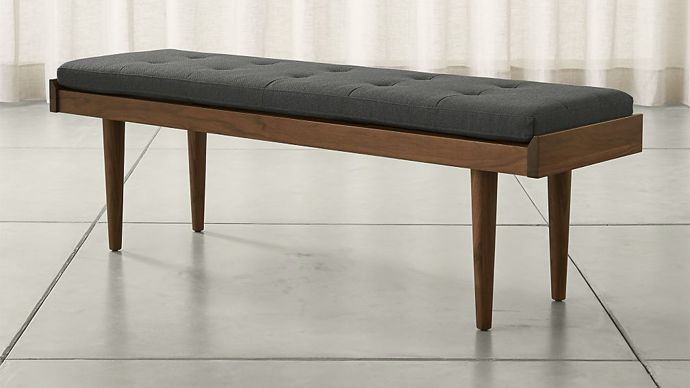 Tate Walnut Slatted Bench with Charcoal Cushion - Image 1 of 7
