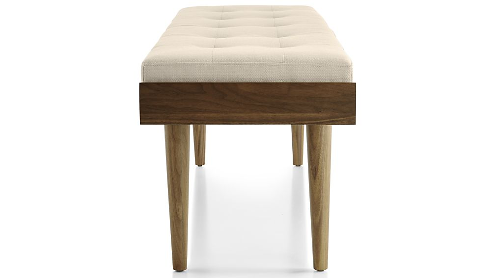 Tate Walnut Slatted Bench with Linen Cushion