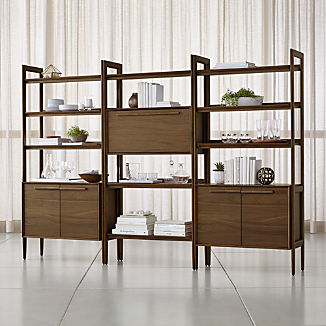 Tate Bookcase Bar with 2 Bookcase Cabinets