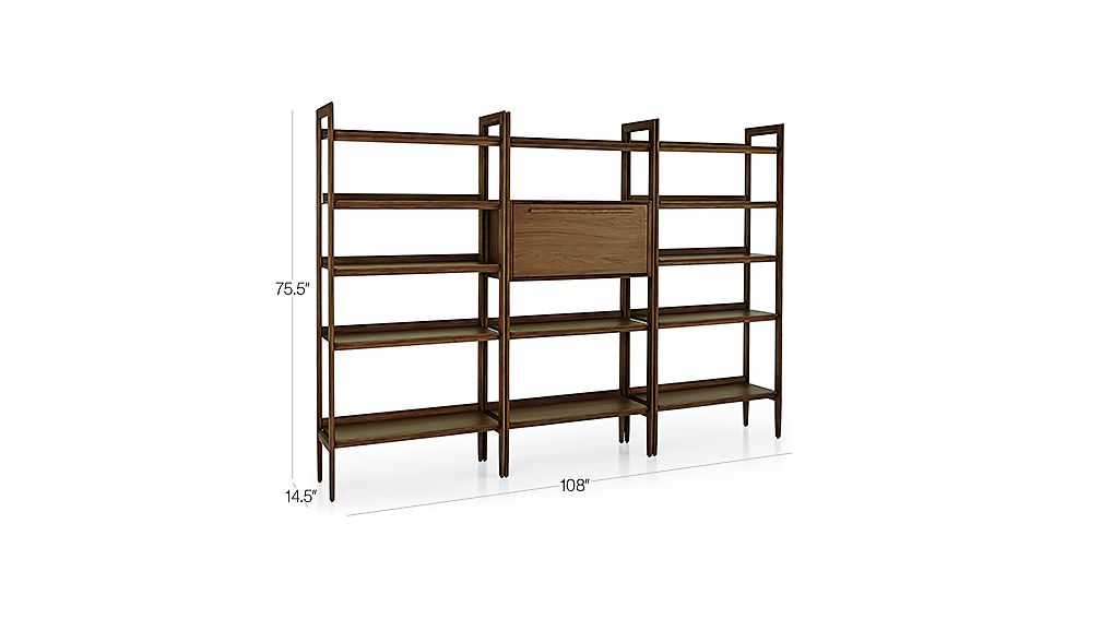 Tate Bookcase Bar With 2 Wide Bookcases Reviews Crate