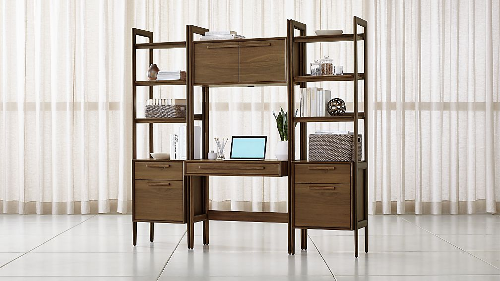 Tate Bookcase Desk with Power with 2 Bookcase File Cabinets - Image 1 of 4