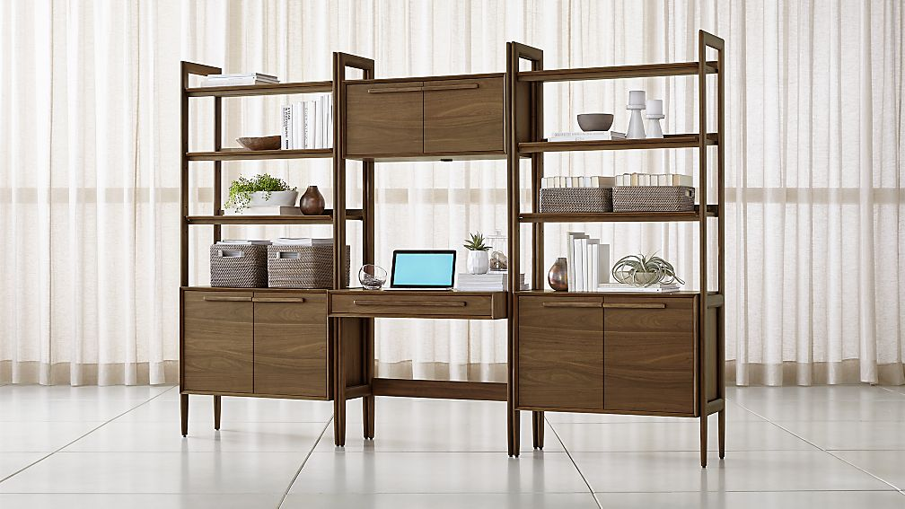 Tate Bookcase Desk with Power with 2 Bookcase Cabinets - Image 1 of 4