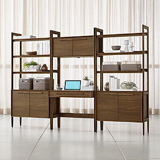 Tate Bookcase Desk with Power with 2 Bookcase Cabinets