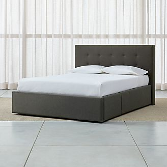 bed tate tall charcoal queen headboard with upholstered storage base