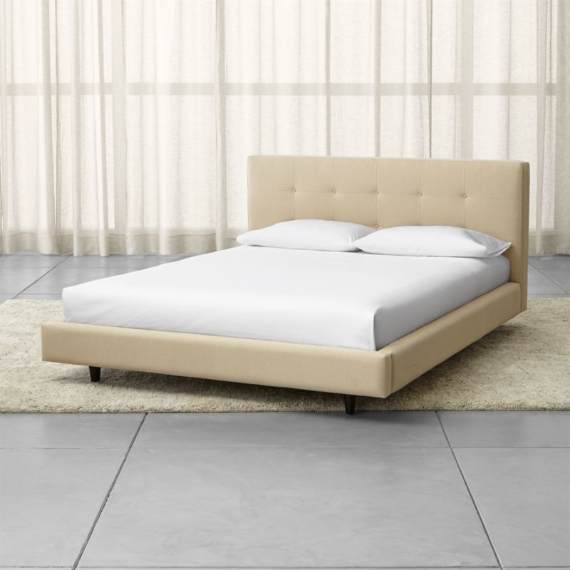 Tate Cream Upholstered Bed Crate and Barrel