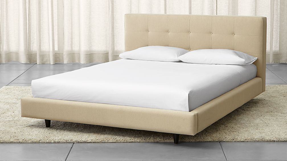 tate cream upholstered bed | crate and barrel