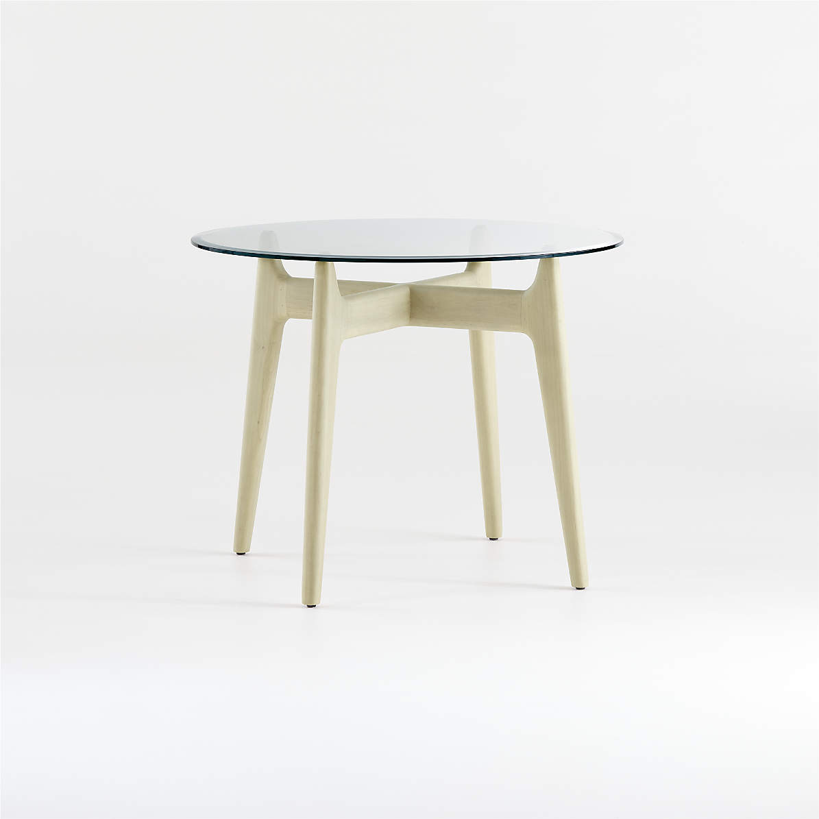 Tate 38 Round Dining Table With Glass Top And Sand Base Reviews Crate And Barrel