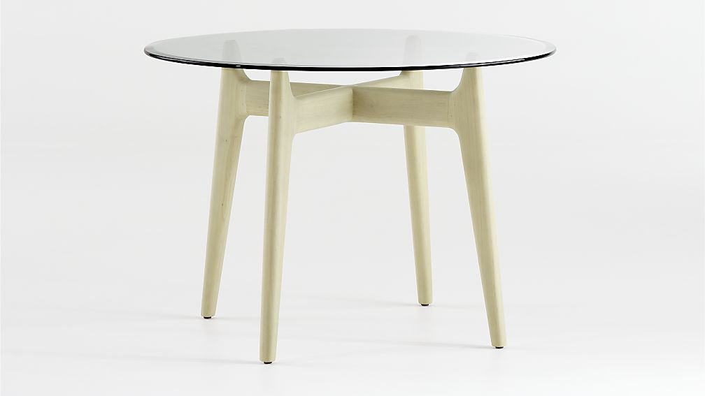 Tate Round Dining Table with Glass Top and Sand Base - Image 1 of 3