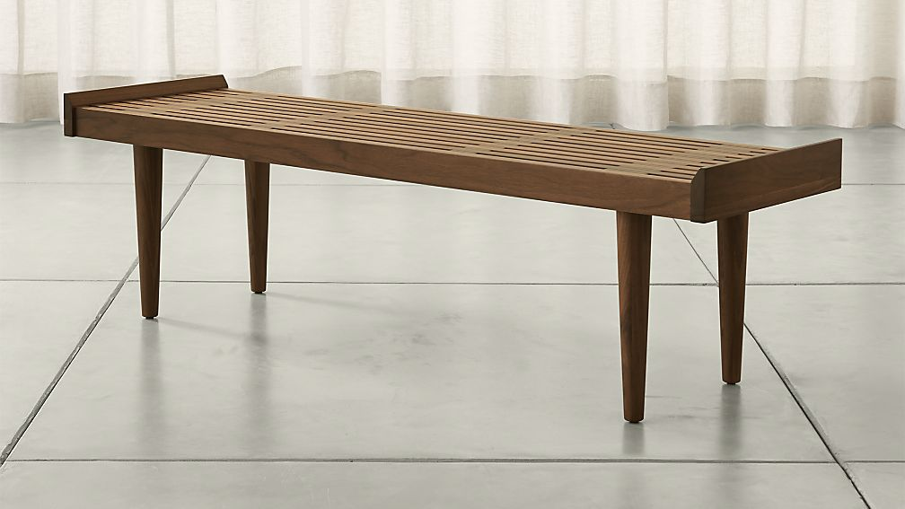 Tate Walnut Slatted Bench - Image 1 of 12