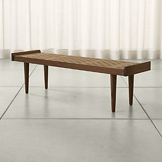Tate Walnut Slatted Bench