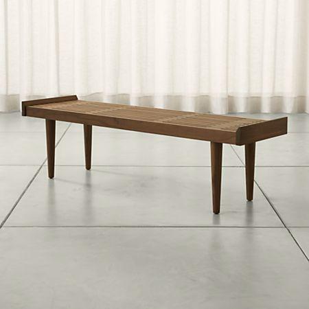 Admirable Tate Walnut Slatted Bench Ibusinesslaw Wood Chair Design Ideas Ibusinesslaworg