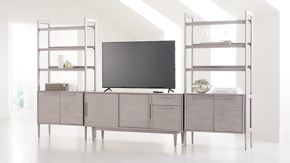 """Tate Stone 64.5"""" Media Console with 2 Bookcase Cabinets - Image 1 of 4"""
