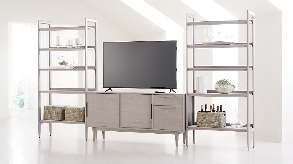"Tate Stone 64.5"" Media Console with 2 Wide Bookcases - Image 1 of 4"