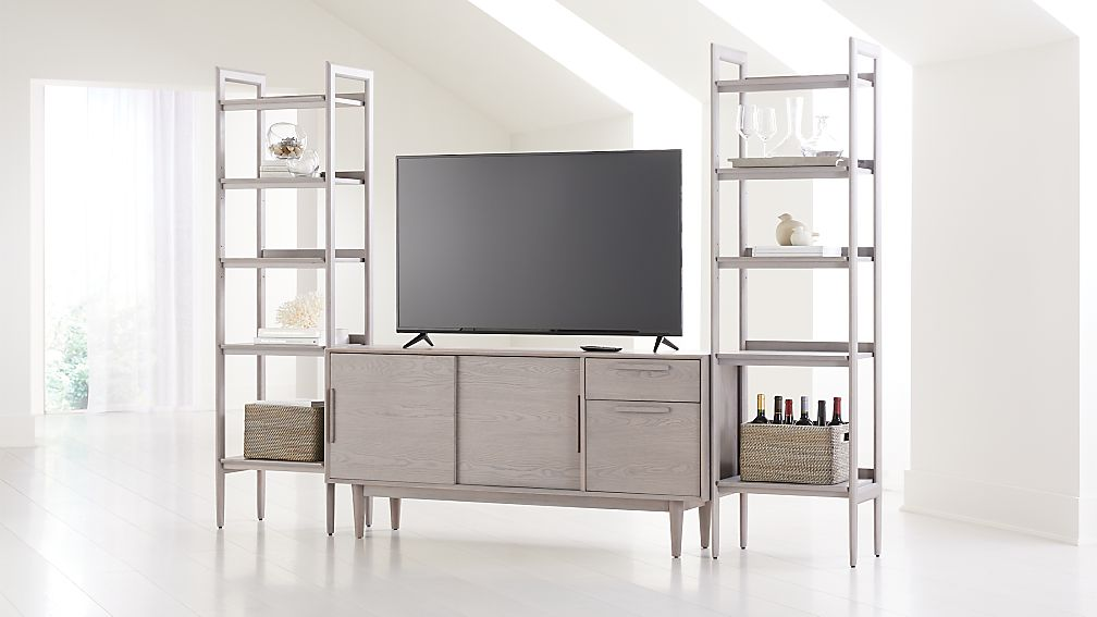 "Tate Stone 64.5"" Media Console with 2 Bookcases - Image 1 of 4"