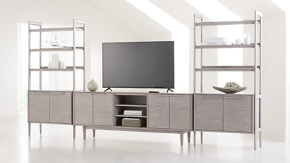 "Tate Stone 80"" Media Console with 2 Bookcase Cabinets - Image 1 of 4"