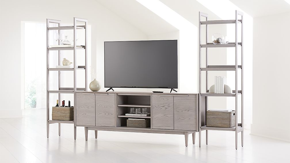 "Tate Stone 80"" Media Console with 2 Bookcases - Image 1 of 4"