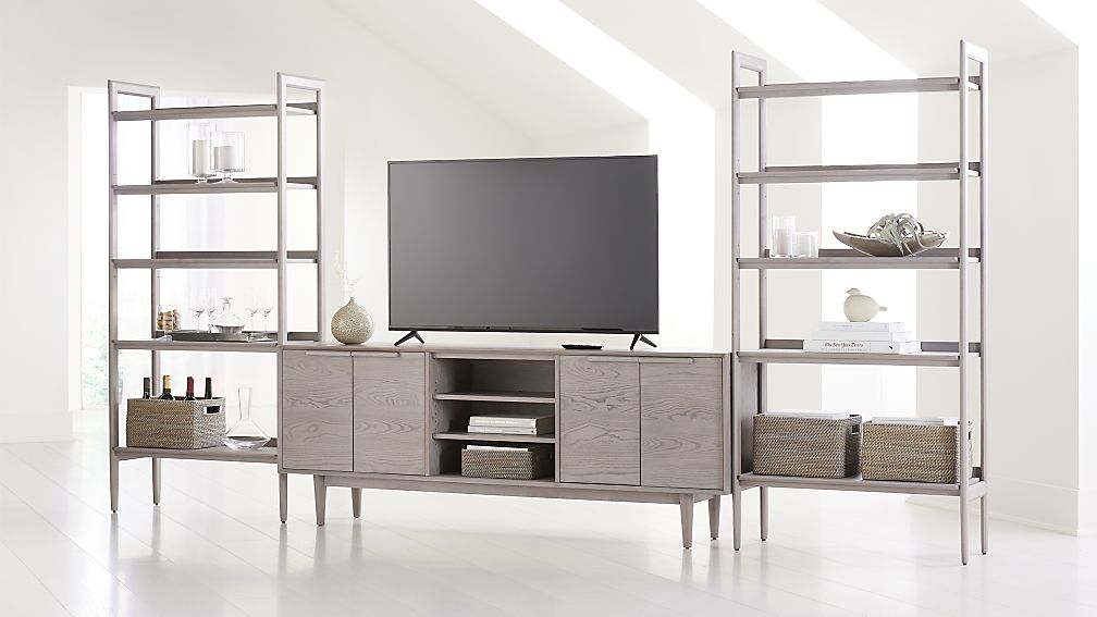 "Tate Stone 80"" Media Console with 2 Wide Bookcases - Image 1 of 4"