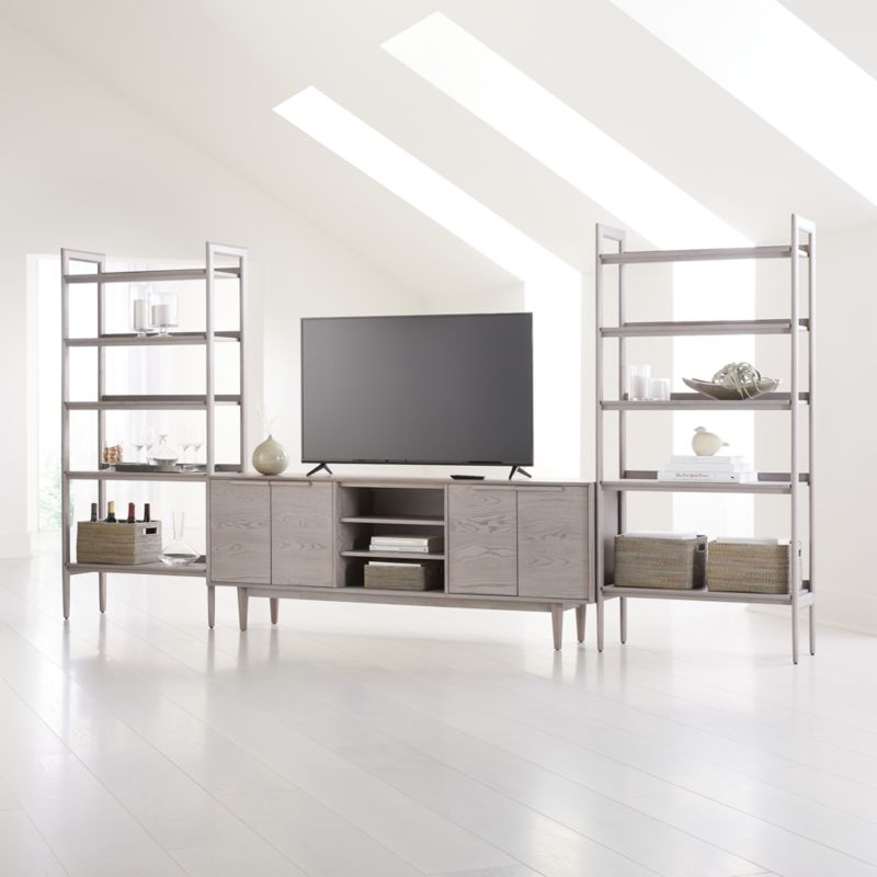 """Tate Stone 80"""" Media Console with 2 Wide Bookcases   Crate ..."""