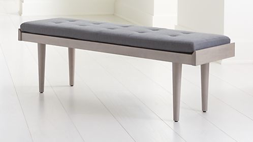 Tate Stone Bench with Charcoal Cushion