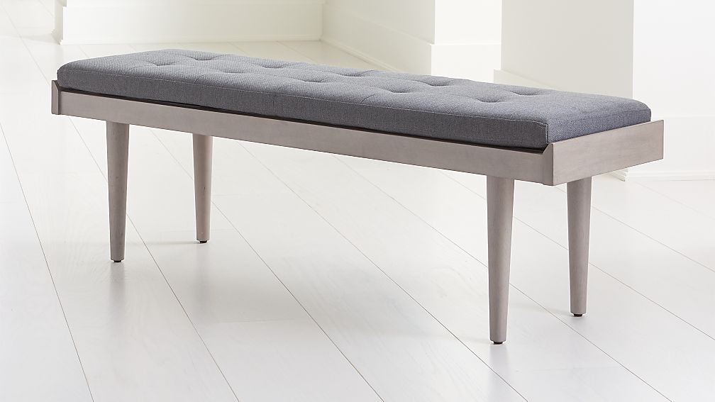Tate Stone Bench with Charcoal Cushion - Image 1 of 5
