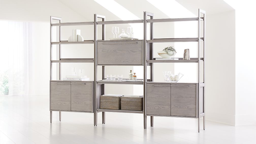 Tate Stone Bookcase Bar with 2 Bookcase Cabinets - Image 1 of 4