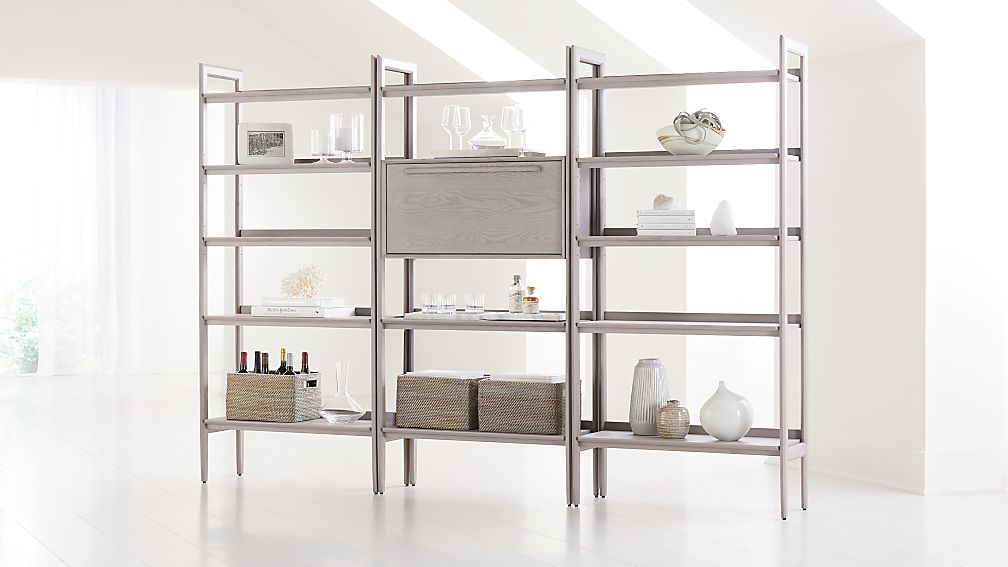 Tate Stone Bookcase Bar with 2 Wide Bookcases - Image 1 of 4