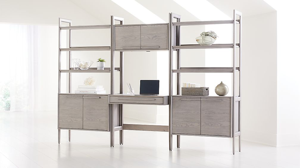 Tate Stone Bookcase Desk with Power and 2 Bookcase Cabinets - Image 1 of 4