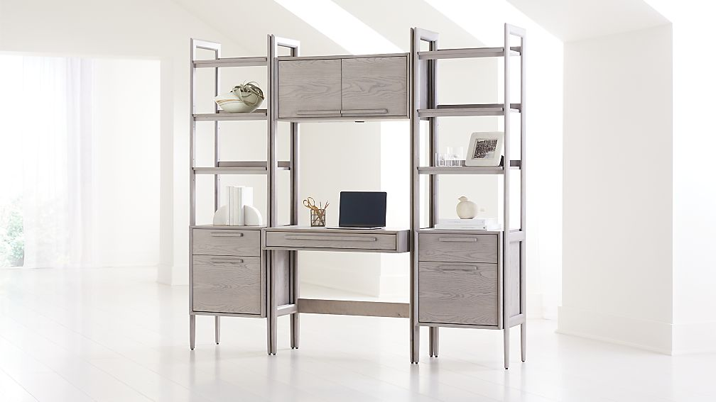 Tate Stone Bookcase Desk with Power and 2 Bookcase File Cabinets - Image 1 of 4