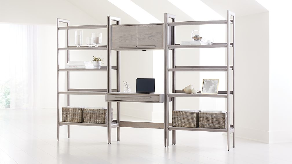 Tate Stone Bookcase Desk with Power and 2 Wide Bookcases - Image 1 of 4