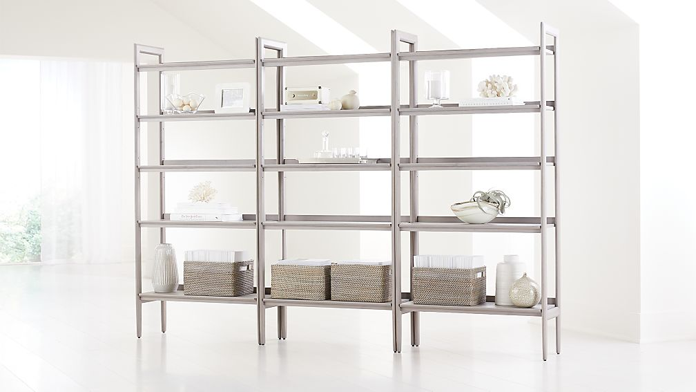 Tate Stone Wide Bookcases, Set of 3 - Image 1 of 3
