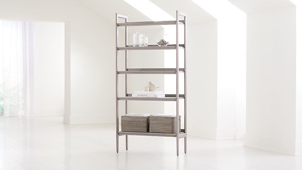 Tate Stone Wide Bookcase - Image 1 of 5