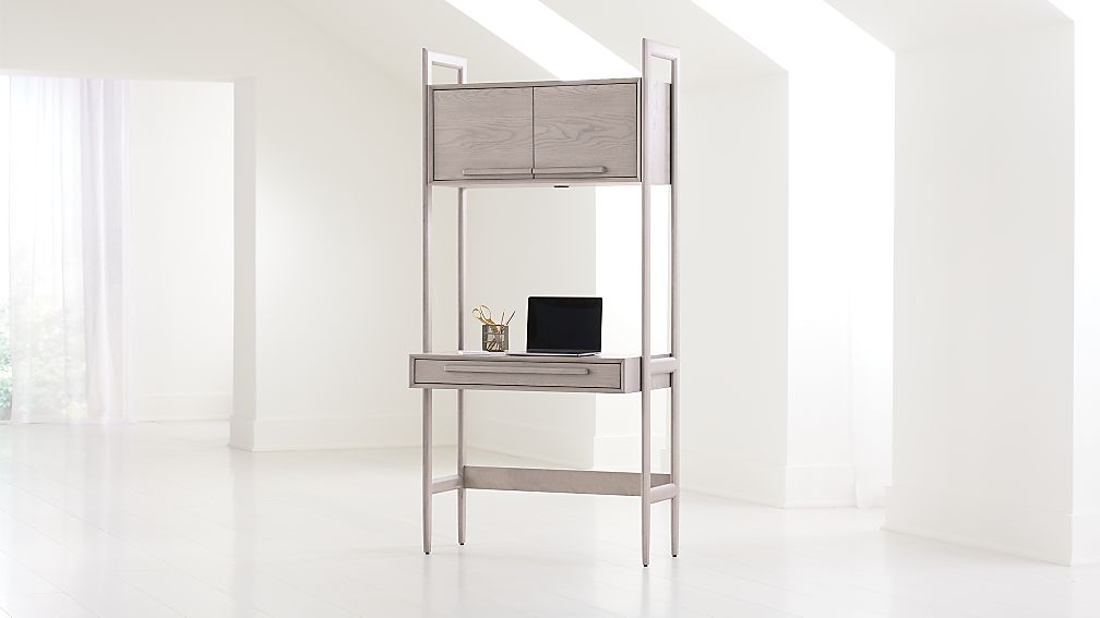 Tate Stone Bookcase Desk with Power - Image 1 of 8