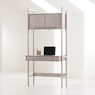 Tate Stone Bookcase Desk with Power