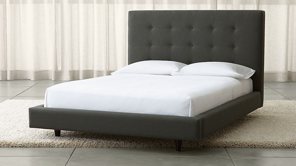 Tate Tall Upholstered Full Bed | Crate and Barrel